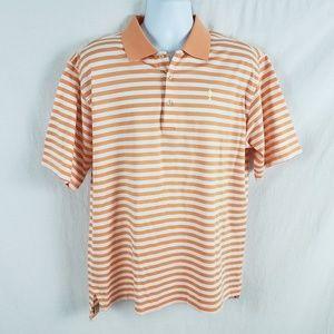 Peter Millar Men Polo Shirt Cotton Striped Orange